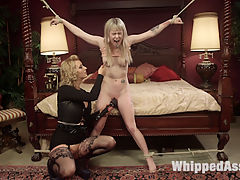 Cherry Torns New Slave Girl : Anna Tyler will stop at nothing to prove her devotion to dominatrix Cherry Torn! Watch Cherry train Anna to be a good little submissive slut with bondage, flogging, spanking, a nipple clamp predicament, finger banging, face sitting, and pussy and anal strap-on fucking!