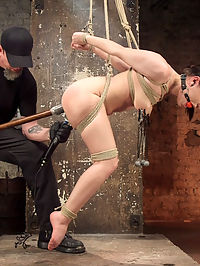Petite Bondage Slut Gets her Holes Destroyed in Grueling Bondage : Gabriella is a feisty little brat that likes to see what she can get away with. Once in bondage, she maintains the brattiness, which inspires The Pope to unleash his sadistic torment. The bondage keeps her helpless all day as she suffers through hours of punishment. The reward is the same for all of the whores, but this one seems to need it more today. She will allow almost anything to happen just to get an orgasm.