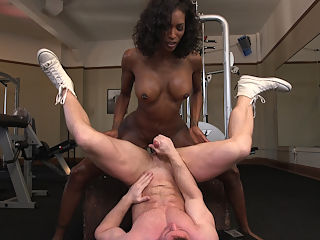 Natassia Dreams pumps her cock deep into muscle boys hungry asshole! : Natassia Dreams works out her tight body and big juicy ass at the gym. Beefcake Beau, pumps iron next to her, but Natassia decides to give Beau a real workout, WITH HER COCK! Natassia pumps her hard cock deep in Beaus hungry ass and shoots her load all over his huge muscles!