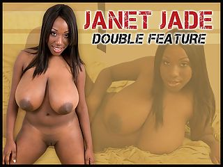 Janet Jade Double Feature : This double feature is dedicated to that miraculous yet unassuming girl-next-door, Janet Jade and her amazing natural tits. Janet went outside to lift weights and bounce on a big oval-shaped workout ball, spray herself to cool off, shower, cum and have fun. Changing from her two-piece gym outfit to a bikini, she ends up naked and dripping wet. br br Janet said she keeps her DDD rack in tip-top shape with dancing and rollerblading. I dont like wearing bras any time except when I exercise. I never wear one at home and I dont wear one out if I can help it. If I could wear just a T-shirt and shorts all the time, Id be happy. I normally dont wear underwear either.br