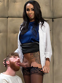 Dr. Honey Foxx and her GIGANTIC HARD cock! : Dr. Honey Foxxx administers 7 days of intense treatment on sex addict Sebastian Keys. Sebastian cant stop thinking of his own cock. Honey Foxx uses her huge hard cock to teach him that her cock is what will be getting all the attention. Honey is on fire with her gigantic dick ramming his fuck hole deep and covering his face with cum!