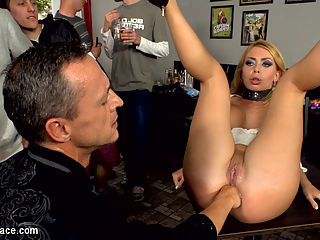 Busty Blonde Isabella Clark Public Double Penetration - Part 2 : Isabella Clarks ass is at it again! Her ass is like a black hole that swallows everything within its gravitational pull. In front of an excited crowd of onlookers Isabella puts cock after cock in her deep gaping asshole. When one cock was not enough for her backdoor, Isabella begs for double anal. Like a real life fuckdoll Isabella moans with pleasure as two cock are jammed up her stretched butthole. After her double anal penetration, Isabellas rectum gapes open as if it were mocking Frank Guns inability to satiate its hunger. Frank rolls up his sleeves as he accepts the challenge in front of him. With little effort and minimal lube, Frank slides his entire fist down into Isabellas bowels. As her ass clenches around the base of his forearm, Frank repeatedly punches into Isabella till she writhes with pleasure. Another public disgrace fantasy fulfilled