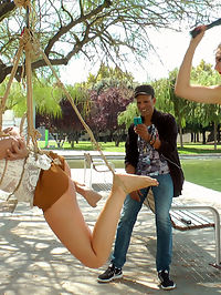 Pamela Sanchezs Walk of Atonement : Mona Wales has found a filthy little panty sniffer that needs to atone for sinning with her whore holes. Pamela Sanchezs atonement begins by being publicly suspended in rope bondage with her sinful cunt exposed. A crowd gathers around Pamela as Mona and Steve Holmes use her mouth as an ashtray. As more men approach Pamela to photograph her spread pussy, Mona canes Pamelas bare feet till she wales in pain. Satisfied with the first part of Pamelas atonement Mona takes her to a bustling Barcelona market where she strips Pamela naked and pushes her to bare her shameful body for everyone to see. Pamela hangs her head with embarrassment as women point and whisper and men stare. Pamelas final trial of atonement for being a filthy whore is public humiliation by sexual servitude. Mona and Steve open this bitches holes up for everyone to use. Pamela gets her ass pounded by a dick on a stick, as her throat is used by Steves huge cock. Pamelas atonement ends with her completely used up in a pool of her own squirt, her braces caked with cum. Another public disgrace fantasy fulfilled.
