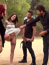 Bound Teen Alexa Nasha is Fucked Before a Chanting Crowd - Part 1 : Summer has come to Barcelona, bringing with it a fresh batch of european sluts who want nothing more than to be publicly fucked and humiliated. The first girl to spread her legs for this season of Public Disgrace is Alexa Nasha. Part oneAlexa Nasha, in a beautiful white summer dress, is bound with rope from a tree in a public park. Couples sit at picnic tables enjoying the summer weather. Slowly, people begin to notice that something interesting is going on as Steve Holmes, Silvia Rubi and Juan Lucho descend upon their bound beauty. Alexa squeals with excitement as the group of three tormentors begin lifting up Alexas skirt to reveal her dripping wet cunt. Several couples move away from the exposed girl in disgust while others gather around Alexa in amazement. With her hands bound Alexa is unable to resist as she gets passed between the three. The feeling of two uncut cocks sliding in and out of her completely exposed holes causes Alexa to moan with pleasure. This is only the beginning. Part TwoAlexa Nasha put her face on the beer soaked floor of a Barcelona bar. She squeezes her eyes shut as everyone in the bar looks at her swollen cunt. She winces at the idea that everyone can see how excited she is. Her asshole clenches as someone reaches down and slides a finger from her throbbing clit to her leaking hole. Pushing her hips back, Alexas body begs to get fucked. A man yanks her head off the ground by her hair and yells something in a language she doesnt understand. Opening her eyes to a throbbing cock in front of her mouth she knows exactly what the man needs her to do. With her mouth gaping one man fucks her throat while another penetrates her cunt. The bar chants as she submits to her rightful place as the cum spittoon for the bar.