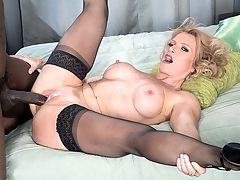 Amanda Verhooks, black cock ass slut : Suck on those big nipples! 51-year-old Amanda Verhooks tells her guy at the start of this scene. Suck em good!br br This hard-bodied little fuck toy is wearing stockings, heels and a corset. She gets on all fours and models her pussy and asshole for Jax Black.br br This slut is gonna get it, she says. Im a fuckin tramp.br br Hey, if she says so.br br My mouth is hungry, she says.br br So Jax feeds her his cock and she eagerly swallows it. He also face-fucks her, and she sucks his balls. Then he fucks her pussy and she works her pussy hard on his dick.br br Now put it in my ass, she says. Turn me into a complete little ass slut.br br So he does. Amanda even goes the extra mile by sucking the cock after it comes out of her ass. This might sound extra filthy, but its perfectly sanitary. Amanda has a very clean, tight ass, and she gave herself an enema before the scene. But still, how many women suck the cock that just came out of her ass? br br Finally, after more ass-fucking, Jax cums all over her face. She opens her mouth for the cum then sucks whats left off the head of his dick.br br Amanda used to be a stripper. Now shes fucking on-camera and doing it very well. Do you want her to be your little ass slut?br