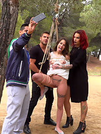Perky Teen Alexa Nasha is Fucked in front of a Chanting Crowd - Part 2 : Summer has come to Barcelona, bringing with it a fresh batch of european sluts who want nothing more than to be publicly fucked and humiliated. The first girl to spread her legs for this season of Public Disgrace is Alexa Nasha. Part onePerky Teen Alexa Nasha, in a white summer dress, is bound with rope from a tree in a public park. Couples sit at picnic tables enjoying the gorgeous summer weather. Slowly, people begin to notice that something interesting is going on as Steve Holmes, Silvia Rubi and Juan Lucho descend upon their bound teen beauty. Alexa squeals with excitement as the group of three tormentors begin lifting up Alexas skirt to reveal her dripping wet tight cunt. Several folks move away from the exposed girl in pure disgust while others gather around Alexa in amazement. With her hands tied Alexa is unable to resist as she gets passed between the three. The feeling of two uncut cocks sliding in and out of her completely exposed public holes causes Alexa to moan with pleasure. This is only the beginning. Part TwoAlexa Nasha puts her face on the beer soaked floor of a crowded Barcelona bar. She squeezes her eyes shut as everyone in the bar looks at her swollen teen cunt. She winces at the idea that everyone can see how excited she is. Her asshole clenches as someone reaches down and slides a finger from her throbbing clit to her dripping hole. Pushing her hips back, Alexas body begs to get fucked hard and fast. A man yanks her head off the ground by her hair and yells something in a language she doesnt understand. Opening her eyes to a throbbing cock in front of her mouth she knows exactly what the man needs her to do. With her mouth gaping one man fucks her throat while another penetrates her tight cunt. The crowd chants as she submits to her rightful place as the cum spittoon for the bar.