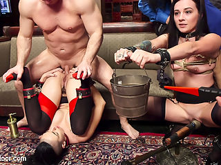 The Anal Initiation of Dallas Black : Tiny brunette nympho is hung upside down and made to be a good anal slave through bondage, beatings, and her senior slaves sexual debasement.This evening The Upper Floor has two perfect anal slut slaves on hand, one a bad girl fresh from the basement, another our hardest working senior rookie. Dallas Black has been rushed in for immediate initiation when we heard this sexual dynamo was ready for hard cock in her submissive ass. Strung upside down like a piece of meat, John Strong fucks her helpless throat while Rachel Madori gets her instructions for the night turn this bad girl that is a slave to her own cunt into a submissive anal sex machine. Dallas screams delightfully as she promises to be a good girl and is rewarded with her first zipper orgasm ripped from her tight body.The rest of the evening is spent in a celebration of anal slavehood and endurance testing with tight bondage, sloppy atm service, clamps, electro torment, relentless orgasms, flogging, and a final vote from the crowd that leaves Rachel staggering with heavy trays weighed with locks, sobbing with effort and cumming like a desperate whore. Well done ladies!