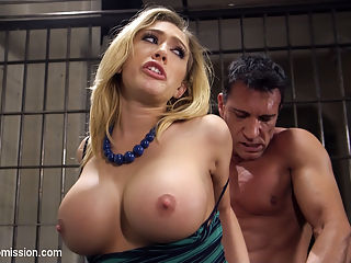 La Turista : When bitchy, big tit American tourist Kagney Linn Karter gets caught at the Mexican border with a purse full of pills, the border police are none too pleased with her privileged attitude. Border Policia Marco Banderas puts the busty rich bitch in a cell, handcuffs her, strip searches her and when she protests he shoves his hard cock down her throat to shut her up.Stripped and jailed, Kagney is taken out of her cage only to be used as a plaything for the sadistic guard. He cuffs her to the St Andrews Cross and sexually torments her for fun - that Sick Bastard.When her jailer grows tired of tormenting Kagneys huge, creamy tits, he ties her down and fucks that privileged American bitch right in the ass with his huge Mexican cock. Kagney learns to love the attention, and begs for more as Marco spills his hot seed all over his slutty captive. Kagney takes a hit to her Pride and Privilege, but learns a hard lesson in international relationships.