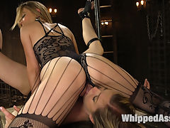 Mona Wales has her way with submissive anal slut Ella Nova! : Eager submissive Ella Nova gives herself up completely to Mistress Mona Wales with suspension bondage, tons of spanking, face sitting, flogging, caning, finger banging, pussy clamps, candle wax, and pussy and anal strap-on fucking!