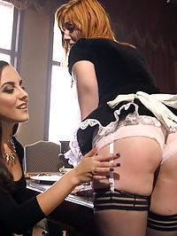 The Lady and the Maid : When Lady Roxanne Rae catches her wealthy husband Derrick Pierce getting his dick sucked by the hot, big tit maid, Lauren Phillips, Roxanne can hardly voice her objections before Derrick puts both hot women to good use at the tip of his dick. The two hot anal obsessed women are tied, gagged and fucked in all their beautiful holes by the swaggering, dominant Derrick Pierce. Derrick has no trouble putting the ravenous sluts in their place in complete servitude to the Master of the house!Steamy redhead Lauren Phillips has the most amazing, big creamy tits on the planet! When Pierce clamps hers and Roxannes nipples together for some steamy two girl blow job action, all we hear are moans of pain, pleasure and submission. Fantastic ladies giving it up in spades!When Pierce flips the two girls bottoms up and bangs them both in the ass and pussy, it is Ass to Mouth for days, and plenty of hot anal action. Both ladies give it up to Derrick and get their slutty fantasies fulfilled at the same time. Enjoy this hot shoot of domestic submission with lots of hot boy girl girl threesome action, BDSM, dominance and submission and rough anal action.