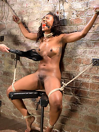 Ebony Bondage Princess Captured and Tormented!! : Chanell doesnt hide her desires to be bound and dominated by me. She gets weak in the knees when she talks about it, and theres a certain glimmer in her eyes whenever it comes up. She is a true bondage model in every part of the definition. She embraces this and her pussy gets wet at the thought of suffering. She is put in grueling positions then tormented to her breaking point. I make sure to abuse her as much as she is willing to endure, then I fuck her holes, especially her throat, until they are used up. That ass is mine and she knows it!!