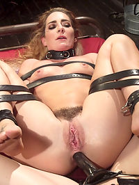 Mistress Chanel Prestons Squirting Submissive Lesbian Sex Slave : Submissive babe Savannah Fox crawls into Mistress Chanel Prestons dungeon eager to serve. The scene begins when Savannah takes a hard OTK spanking, paddling and finger banging before worshiping her mistresss wet pussy to orgasm! Tied on top of her cage with her legs tied open, Savannah gets fucked with a dick on a stick to multiple squirting orgasms. Finally, Mistress Chanel pussy and anal strap-on fucks her leather strap bound slave for a crescendo of pleasure and pain!
