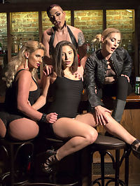 Dyke Bar 3 Abella Danger fisted, DPd and dominated by wild lesbians! : Hot tough chicks Mona Wales and Mistress Kara close up the bar and head to the tail end of an after party where they join Phoenix Marie in dominating hog young thing Abella Danger! The evening quickly escalates from spanking, foot worship and pussy licking to florentine flogging, intense fisting, severe humiliation, pussy and anal strap-on, and strap-on DP!