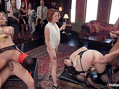 Innocent Girl Made Depraved Anal Slave : Nora Riley is a doe-eyed beauty and natural submissive. She comes to our wild brunch party ready to serve and have her ass ravaged and fucked in front of a live audience of horny BDSM players who are extra excitable on this day. Naked women line up to spank her butt red before Seth puts his cock deep in her ass and rides her until she learned to come for the cock and not for herself. Charlotte is a perfect Senior slave, licking tears off Noras face, reciting the house rules while in an intense rope bondage bridge position, and getting fucked while licking her initiates perfect pink cunt. The look of sheer desperation on Nora Rileys face as she tries to keep heavy silver trays lifted high while seated on a sybian that is wracking her body with involuntary orgasm after orgasm is what service is all about. This day is a great deal of fun with guests hanging each other in tight rope suspensions, pretty girls cumming with their friends and joining in as the House Staff canes Noras ass, leaving beautiful red stripes and leaving her with a reminder of her lessons well learned before she is latched down to a table and made to cum over and over again as she recites her rules pledges her ass to the House.