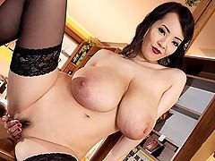 Lipstick Nipples : Hitomi sucks and kisses her nipples until they are covered in red lipstick and they stay that way for the duration of her cum show as she rubs one out on top of a bar. Hitomi was in Prague for the first time to get it on with Lily Madison and tongue Lilys taco in two sexy girl-girls, one of them a kinky fetish party.br br Hitomi keeps busy back home in Japan and does a lot of meet and greets at conventions and adult shops. Shes been to the States twice for the yearly Adult Entertainment Expo in Las Vegas. Sheridan Love, a regular at conventions, got to meet Hitomi, who was either dressed in a Japanese kimono or a skimpy silver bikini. Hitomi also met Maserati and Bridgette B. Big boob girls are magnetically attracted to each other.br br After reading comments on the Blog and in iSCORELANDi, Hitomi super-fan Bighorse once wrote about Hitomi modeling with iSCOREi, knowing the situation with Japanese girls about their pussies having to be obscured. No problem with the butthole its a vagina thing.br br I trust you guys at iSCOREi with Hitomi. When I first heard she was working with a foreign adult company, I thought this could be bad but she knew what she was doing. Now Im extremely pleased you guys are understanding with how Hitomi works and have taken good care of her.