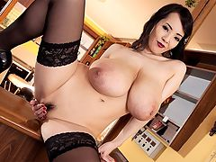 Lipstick Nipples : Hitomi sucks and kisses her nipples until they are covered in red lipstick and they stay that way for the duration of her cum show as she rubs one out on top of a bar. Hitomi was in Prague for the first time to get it on with Lily Madison and tongue Lilys taco in two sexy girl-girls, one of them a kinky fetish party.br br Hitomi keeps busy back home in Japan and does a lot of meet and greets at conventions and adult shops. Shes been to the States twice for the yearly Adult Entertainment Expo in Las Vegas. Sheridan Love, a regular at conventions, got to meet Hitomi, who was either dressed in a Japanese kimono or a skimpy silver bikini. Hitomi also met Maserati and Bridgette B. Big boob girls are magnetically attracted to each other.br br After reading comments on the Blog and in iSCORELANDi, Hitomi super-fan Bighorse once wrote about Hitomi modeling with iSCOREi, knowing the situation with Japanese girls about their pussies having to be obscured. No problem with the butthole its a vagina thing.br br I trust you guys at iSCOREi with Hitomi. When I first heard she was working with a foreign adult company, I thought this could be bad but she knew what she was doing. Now Im extremely pleased you guys are understanding with how Hitomi works and have taken good care of her.br br br