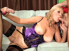A threesome for Mom : Bethany James, a 64-year-old tall drink of water from Ohio, plays out one of our favorite fantasies Sexy MILF fucks her daughters ex-boyfriend. Actually, in this case, its her daughters ex-boyfriends because Bethany has her way with two guys. She sucks them. They fuck her. And when theyre done, they shoot their loads all over Bethanys face. Fuck the daughter! Moms much hotter.br br Theres a lot to love about Bethany. For starters, her nipples, which are always erect. Then theres her bedroom voice. You could get hard just by listening to her speak. And her height. Shes 511.br br Men have always been attracted to me, and Ive always been attracted to them, Bethany said. I love men. Ive never had sex with a woman and I never want to because I love men so much. I love the things theyll do to get into a womans pants.br br For example? A guy once came up to me in a club and said, Do your legs go all the way up to there? I laughed, then I said to him, Would you like to find out?br br The two guys in this scene find out.