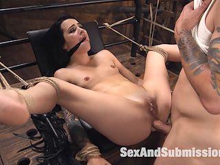 Dallas Blacks Customer Service Experience is Fucked Up! : While taking a guided tour of the San Francisco Armory, Dallas Black picks up a famed Hitachi Magic Wand Vibrator from the Kink.com gift store. But when back in her bed, when the magic moment is at hand, her new toy sputters out and fails her, denying her hungry pussy the orgasm she craves!Back at the Kink store, Dallas meets customer service girl Lilith Luxe, who is more than happy to help Miss Black find a better way to get off. After penetrating Dallas sweet little asshole with kinky rubber toys and burying her delicious cunt into Dallas hungry mouth, Lilith admits that she cannot fix the broken vibrator. But the guys in the shop might be able to help her.When Dallas brings her broken vibrator to the Kink shop for repairs, Mr. Pete puts the fix in and lines up Dallass cunt with tight rope bondage and amazing vibrator orgasms. Dallas pays for the repairs with deep throat cock sucking with tied up kneeling on the dirty shop floor. What a slut.Pete takes a shine to the little hottie, and gives her his own version of a guided tour on the Armory. He finds an empty set and toes the slut down to a fuck box for some more hardcore BDSM and anal action.Dallas Black gets the VIP tour fucked hard while tied down, gagged and naked in the Armory basement by the shop guys big dick. But in the end, even though Dallas got fucked in the ass by Customer Service, she woke up a happy customer with a new toy.