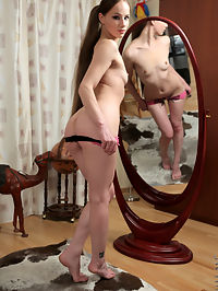 Nubiles.net Aurelia - Cock hungry coed gets horny playing with herself in the mirror : Cock hungry coed gets horny playing with herself in the mirror