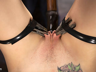 Dahlia Sky Submits to Punishing Bondage and Torment : Behind Dahlia Skys sweet smile is a dirty little slut that loves having her limits tested. Shes tied up and tied down in punishing bondage, and made to endure a hard fucking in all her holes until she cums like the masochistic whore she is.