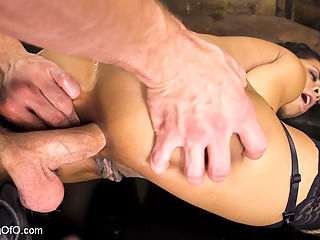 Kira Noir Trained to Fist Her Own Ass! : Bill Bailey puts Kira Noir to the task of fucking herself. In the ass. With her own fist! Bailey warms the slave girl up with a hard, sloppy face fucking in tight rope bondage. Then its face down, ass up for some doggie pounding, ass stretching, anal slave training! Kira gets Bills big dick in all her holes by the time she is on her back with her thighs tied open, begging for Bills come! Kira is smokin hot in this filthy film about stretching anal limits.