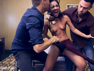 BROs Before HOs! : When Xanders sexy girlfriend, Amara Romani, cheats on him with his Best Bro, Seth Gamble, the two Bros team up to teach the little Ho a lesson in bondage, manhandling and rough anal sex! Slutty Amara thinks she is on her way to hook up with Seth behind her boyfriends back, but Xander surprises her in a dark alley and takes her to a remote hotel room where Seth is waiting. Amara is shocked to learn that these two guys are in it together and a great take down scene is unleashed! Amara is manhandled, stripped naked, bound and fucked in all her slutty holes by both guys. Xander and Seth pull Double Domination Duty as they pass Amara back and forth like a sexual rag doll, fucking her however they wish till she is completely drunk on cock and come. Amara loves being put in her place by these two guys and learns the real meaning of the saying BROs Before HOs!