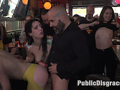 Spanish Bar turns into a Filthy Fuck Party! - Part 2 : Part 1 - Spanish Slut is disgraced like a pig!Nerea Falco is ready to be disgraced. But little does she know Max Cortes and Liz Rainbow are there to turn this slut into a fuck pig! Suspended in rope bondage, Max and Liz both take turns aggressively slapping the fuck out of Nerea Falco until she learns how to properly squeal like a pig. Once they let her down, she is then made to worship and lick Lizs sexy high heals and feet. Every good pig needs an anal tail, which is shoved down this sluts tight ass hole. She is then made to crawl on her hands and knees in front of a crowded park.Part 2 - Spanish Bar turns into a Filthy Fuck Party!Nerea is dragged into a filthy bar and is soaked in freezing cold water. She is then made to lick up and scrub clean the dirty floors with her body and tongue. The bar goes wild! Patrons get their horny hands all over these sluts. Even Liz gets her clothes torn off and gets into the action! Ass eating, hair pulling, face spitting, aggressive deep throat, hard anal, this bar gets it all! Dicks are pulled out and sucked off, lesbian tits come out and get slapped! Champagne is sprayed over everyone! Finally Nerea is drenched in thick cum, while a hot bar patron wipes it all over her filthy face.