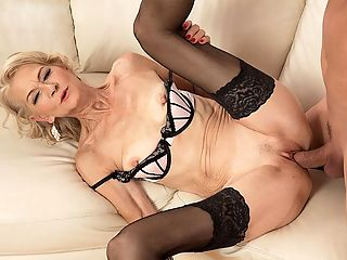 Shes 63 and still a fuck toy : Beata doesnt speak much but she cums hard in her first video at 60PlusMILFs.com. This 63-year-old divorcee, mom and granny gets fucked so hard, youll think her guy is going to split her in half. Her pussy is so pink, youd think it belonged to an 18-year-old. But Beatas pussy is experienced, so you know its not only pink it gets the job done. And Steve does not split her in half. He just overstuffs her pussy.br br When this scene starts, Beata and Steve are drinking champagne. Beata is dressed classily in a business suit. Shes wearing earrings, heels and stockings. Classy makes a detour when Beata stands up, lifts her skirt and shows Steve her pussy. And away we go! When the sucking and fucking is finished, Steve shoots his load all over Beatas wrinkled face. Very nice.br br I love to have sex more than ever, Beata, whos Czech, told our translator. I will have sex with a younger man, with an older man, whomever. My favorite thing is to give a blow job. I have always loved to please the man and see the look on his face as I give him oral. Its okay if he finishes that way, but I like to have an orgasm, too. br br She obviously has one in this scene.br br I have a few lovers. They like women like me. They enjoy my maturity and my skills.