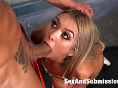 Gym Bunny Gets Fucked : Kat Dior is the hot, fit gym bunny with a tight ass popping out of her tiny shorts that we all want to fuck right there in the gym! Marco Banderas cant help himself picturing this slut ass naked working out and needs to tie up this whore right there on the equipment for some squirting orgasm exercises. Keeping her knee high socks on, Marco drags Kat down to the filthy gym showers and ties her up in rope bondage for some corporal punishment. Flogging, ball gags, electric zappers, clothes pins, choking, and slapping. Marco runs Kat through all the tormented work outs before fucking and filling up all her holes! Deep anal in tight rope bondage gets this bunny pumped for screaming, sweaty orgasms!