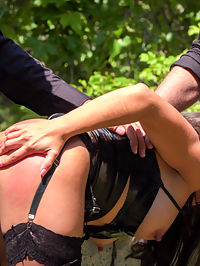 Spanish Slut Frida Sante Fucked Outdoors : Part 1 - Spanish Slut Fucked OutdoorsFrida Sante is a pretty Spanish slut who loves to take it hard for everyone to see. Fully outdoors in front of a crowd she gets fucked, spanked, and put to work! This gorgeous slut can really take it from both ends while strangers gasp at the hard face fucking happening right before their eyes! This scene ends up being soo hot for Frida in her tight black dress, stockings and latex garter that she needs to take a public dip in the local fountain!Part 2 - Underground Goth Club turns into a wild fuck party!Steve Holmes drags Frida to a crowded underground goth bar, where the patrons are ready and horny for any action they can get! The sexy goth sluts at this club take turns flogging Fridas perfect round ass before making her crawl on her hands and knees to sniff every hot ass in the joint. Unable to control herself one of the hot petite whores at the club strips naked and goes in for some lesbian pussy licking and face sitting. As the night goes on the whole bar gets their tits out and joins in the party. Frida needs to be tied up in tight rope bondage to be fucked with an anal plug while the audience gets flogged before a huge cum shot cock sucking for everyone to enjoy.