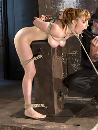 Red Headed Rope Slut is Violated and Tormented : Penny is a dirty little slut and shes not afraid to admit it. She loves to be tied up and made to suffer in the bondage. Her pussy drips as soon as the rope comes out and she grinds her ass in to the Pope every time he gets close to her. She is such a rope slut and we love her for it, and by love we make sure she is tormented to her breaking point. We abuse her body, then violate her pussy, ass, and her throat. We leave no hole un fucked! If youre gonna act like a whore, then we will treat you like one.