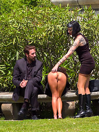 Perky Little Slut in a Box - Part 1 : Melody Petite is a perky slut in a box - Part 1Mistress Minerva has a present for Steve Holmes! Its Melody Petite, a perfect perky little slut all wrapped up in a box! This barefoot whore sluts her happy tight ass all over the city for everyone to get a taste! Mistress Minerva loves playing with her toy and delivers some corporal punishment for the crowded city to see. Melody is soo hot from this Steve even has to dunk her in the public fountain to cool down. Fugitive Biker Bar Gets Serviced! - Part 2Tied up in rope bondage, Melody Petites smiling pussy becomes a perfect tourist destination! Everyone at this rowdy bar wants to get a picture with her. After a round of flogging, Mistress Minerva brings out the electric zapper and makes Melody scream with orgasmic pleasure! Melody is still so hot, Minerva has to spit cold water on her face and pussy. After Melodys high heels come off, one lucky patron gets to fulfill all his foot worshipping pleasures and suck on her tiny toes. But dont let those feet get away yet, Melody is ticklish and gets tormented by Mistress Minerva! Finally a round of blowjobs for bikers and fucking by big dicks that are almost too big to fit in her tight pussy, Melody gets drenched in cum!