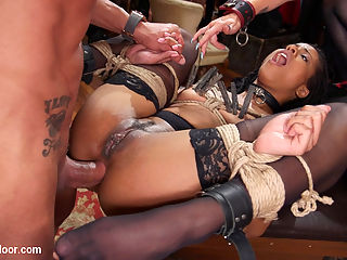 Slave Orgy Unchained : The outrageous conclusion of a slave orgy featuring senior slaves Bella Rossi and Mona Wales and their proteges Kira Noir and Lilith Luxe starts with a bang. Bella and Kira are rewarded for their victory in Part One, taking turns on Marco Banderas punishing cock. After Bella has taken her reward, Kira proves her mettle and endures an epic, brutal ass fucking.All four slaves are then brought together in an untamed orgy of fisting, fucking, sucking, begging, cumming and cum eating, while house guests surround them, goading them on. Its an explosive conclusion you dont want to miss!