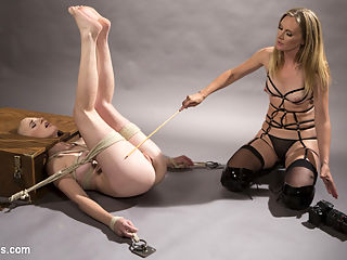Pervy Photographer Hot babe bound, spanked, and anally strap-on fucked! : Gorgeous babe Riley Nixon moves to the big city to become a famous fashion model. Pervy photographer, Mona Wales, uses sadistic techniques to motivate her muse! Their photo session includes spanking, caning, bondage, finger banging, pussy licking, face sitting on a queening box, pussy and anal strap-on fucking, and squirting orgasms!!!
