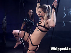 Aspens Nightmare Tough chick bound, beat, and anally strap-on fucked! : Take a trip into the twisted mind of Aspen Ora where she is dominated by the beautiful Chanel Preston. Aspens nightmare includes bondage, finger banging, spanking, face sitting, the zapper, and pussy and anal strap-on fucking!!!