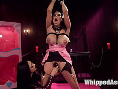Porno Barbie Lesbian bondage, domination,and anal strap-on fucking! : The Dollhouse series returns with bombshell barbie doll, Missy Martinez and hot latex clad dominatrix Lea Lexis. Lea tests the abilities of her pretty plaything with bondage, finger banging, pussy licking, spanking, flogging, caning, facesitting, and pussy and anal strap-on fucking!!!