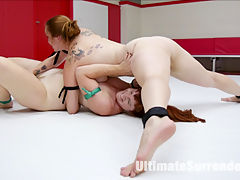 Red headed Battle for Orgasms : Bella Rossi takes on her evil Twin, Barbary Rose in 100 real competitive erotic wrestling where the dominant wrestler tries to make her opponent cum on the mats against her will. When one wrestler fails to make her opponent cum on the mats during the wrestling, she is allowed to continue fingering after the match is over to make sure her opponent cums on the mats. Winner does a lift and carry standing 69, hairpulling, piledriver, hand gag and brutal pussy fucking to the loser.