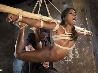 Stunning Ebony Slut in Brutal Bondage and Tormented : Ana amazingly fit body is tested in every grueling bondage position. The torment tests her mental ability to process pain and get through the scenes. The orgasms push her over the final edge of sanity and she comes unraveled. Watch this beauty get pushed harder than ever before in brutal bondage at the hands of a sadistic man...The Pope.