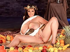 Arianna, Goddess Of Big Tits : Aphrodite is the Greek goddess of love, beauty and sexuality. Venus is the Roman goddess of love, beauty and fertility. Arianna Sinn is the boob lovers goddess of big tits, shaved pussy and fuckable ass. We have never, ever seen a photo of Aphrodite or Venus rubbing a grape against their big tits, but thats because Aphrodite and Venus didnt have big tits. You see, gentlemen, Aphrodite and Venus are phonies. Arianna is the real thing. Our goddess sucks on her nipples while rubbing her pussy. Yeah, shes wearing that corny leaf thingie on her head, but our eyes are always on her tongue, tits and cunt. Did Aphrodite and Venus ever give head to a banana, tit-fuck it and rub it against their pussies? No. Never! Nowhere in Greek or Roman mythology will you find any mention of that. And thats why our goddess is better than their goddess.