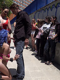 Cute and Colorful Susy Blue is Begging to be Disgraced in Public. : Susy Blue is just thrilled to be disgraced in public. Parading through the streets of Madrid with her tits and ass on display, Steve Holmes and Mistress Jasmine take turns smacking Susys pussy, ass, and tits with floggers and canes. Steve face-fucks Susy until a crowd gathers and a lucky bystander gets his dick sucked. Later inside a restaurant, Steve humiliates Susy with the help of the customers. Susy blue ultimately gets fucked by Steve and Mistress Jasmine and swallows two massive loads from Steve and a young stud.