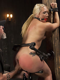 Of the Body and Mind : AJ is a stunning, all natural slut with ass for days. She isnt much of a pain slut, but this bitch can handle the bondage, and is horny as hell. The Pope strikes a deal with AJ that will allow her all of the orgasms she can take, on the condition that she has to be tormented. She endures his sadistic brutality to the point of tears, and then he violates her holes and almost gets his entire fist in side of her whore hole.