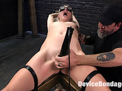 The New Bitch : Cadence is a cute little thing that is her to prove how much of a pain pig she really is. She wants to be put through the paces and abused by The Pope. Her body is restrained in new and classic devices. Her flesh is subjected to grueling torment. Her holes are fucked which makes her pussy squirt everywhere. She loves her throat fucked so we make sure we annihilate that hole too.
