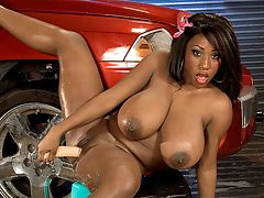 Bikini Car Wash : All of us have seen plenty of car wash scenes. Some stand-alone videos, others that are part of a movie. In our opinion, this video ranks up there in the top ten due entirely to the amazing car wash skills of Janet Jade. br br We had no idea just how good she was but as soon as she got out of the Jeep and started stroking the antenna, we realized this was a million times better than any car commercial that Detroits come up with. br br Once a week, a car wash van pulls up at SCOREs offices to see if any employees want their rides cleaned, but, despite our fervent prayers, Janet Jade has never stepped out of the van in a bikini top and tight shorts. br br If Janet ever decides to relocate to warm, sunny Miami from the frozen tundra of Detroit, she could make a bundle washing cars. In fact, Janet could just wash one car and simply charge admission to watch her at work getting her incredible 38DDDs all soapy and drippy. This upgraded iSCORELANDi video is the proof, and at almost 25 minutes, its quite a good deal. You may find yourself with a real mess on your hands after watching it and all the blame for that should be squarely placed on Janet. Its all her fault.