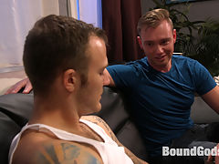 Online hookup turns into a night of kinky sex for BDSM virgin : Eager and horny, Grayson Frost waits in his apartment for his online hookup to show. When Christian Wilde walks through his door, Grayson is in awe. Christian can tell the boy is a little nervous so he gets right to business, telling him When I play, I play rough. Dont waste my time. Before he knows it, Grayson is pushed to his knees. His arms bound behind his back before taking every inch of Christians hard cock down his throat all while being beaten with his own belt. Bound for the first time in full bondage, Grayson attempts to touch his cock but Christian has other plans for him. He edges the boys hard, uncut cock before ramming a giant plug up his ass to pry him open for Christians cock. Grayson feels the leather paddle beat his flesh while servicing Christians cock once more. Hot wax all over his balls and clover clamps across his chest, Grayson bites down on his ball gag as Christian removes the giant plug and replaces it with his giant rod. Once the clover clamps come off, Christian pulls the gag out of the boys mouth and rewards him with a massive load.