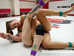 Little rookie abused and fucked until her asshole gapes : Poor little Rizzo Ford is having no luck with her wrestling matches. She is trapped on the mats by the powerful Cheyenne Jewel and fingered until shes a useless mess on the mats. Cheyenne takes off the losers bands and ties her up with them, Then she ball gags her, fucks her pussy and then fucks her asshole until it gapes open. Cheyenne jewel spanks Rizzo ford, puts her thumb up her ass then face sits her until Cheyenne has gotten her own orgasm out. The loser is finished off with a lift and carry
