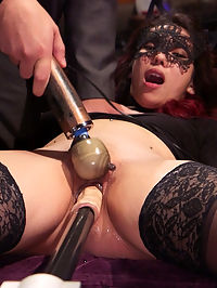 Evil and Hot Halloween Orgy : The witching hours of our annual Halloween BDSM ball were chocked full of beautiful local BDSM players riding the fucking machine, taking floggings from their Masters and fucking on all the furniture. Meanwhile our nympho house slave Amara has her hungry little pussy clamped wide open to the floor as her senior slave Ember strains in tight bondage and begs loudly for hard cock. The sadistic Governess torments poor Amaras exposed clit with a crop until she is desperately begging to learn the house rules so that she may cum from the pain Aiden Starr delivers. Anal slave babe Sadie Santana endures one of the hardest sex suspensions we have seen to date by our visiting Master, The Pope. She has her gorgeous holes stuffed with hard dick while her senior slave keeps her on task with titty torment and lots of pussy licking. The night culminates in all the horny locals gathering in one room to see our bartender Pink made to cum against her will with sweet little slave girls lapping at her nipples, the depraved anal slut slaves riding and waiting their turn to orgasm. From there the anal fisting of Amara and all slaves on the floor begging for cum for their Governess is an image that will haunt our fantasies for a long time.
