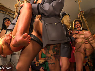 Pet Bitches Disgraced on Public Walk : Two gorgeous slut pets are out on public patrol. Lead around by a leather leash, these nude slaves crawl around on the dirty floor on their hands and knees. Tied up in tight rope bondage, these eager pain sluts beg for corporal punishment for the amusement of a rowdy party. They scream so loud when they are hit with electric zappers and slapped hard on their bright red ass. The group gets their hands on these bondage bitches before they service them with deep throats and hard fucking. Even the crowd gets naked as they cheer for huge loads of cum to drench these beautiful women.