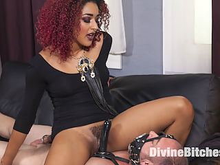 Drown in my squirt, slaveboy! : When slave D. Arclyte doesnt pay his weekly tribute to Goddess Daisy Ducati she decides to surprise him by showing up at his house to pay him a little visit. Daisy catches him rifling through porn mags and decides that this little slave slut needs to be denied. She fucks her pussy with a dildo thats attached to his chest while he is gaged with an open mouth funnel so that very single drop of her delicious squirting cunt fills his mouth and in order to breath he must continue to swallow it all. She has his cock cinched in a metal cage and even squirts her juice all over his cock. This is the closest he will ever get to Daisy glorious cunt!