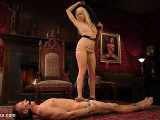 Lorelei Lees Pleasure of the Divine Bitches : The goddess Lorelei Lee knows all about mens filthy fucking fantasies. Zane anders has dreams and hopes of serving the Divine Bitches, but is just a pathetic worm that must prove himself worthy. Fully bound in robe bondage, Lorelei digs her perfect gold heels into Zanes hard cock and balls. This worthless man must be taught a lesson with corporal punishment and intense cock slapping. Begging for the tiniest drop of pleasure, Lorelei teases his cock with her glorious full pussy lips, denying him any real satisfaction. His dick drips with precum with the slightest little flick of her tongue. Desiring more punishment and pleasure, Lorelei delivers it deep with a hard strap on pegging while stroking and preparing his cock with her perfect feet. Now fully tied up and helpless, Lorelei is able to use his obedient cock to bring her divine orgasms. The worm desperately begging for permission to cum, Lorelei denies him over and over again. None of this is about him and his dick. Only the pleasure of the divine bitches.