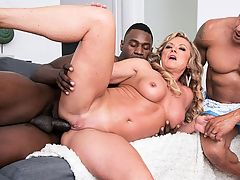 BBC anal cuckold : Missys husband comes home, and Jax is with him. Shes looking very sexy in a tight top, tight jeans and heels, and Jax notices.br br Missys husband decides to take a shower, which leave her all alone with Jax. She has him sit on the couch and tells him to show her his cock.br br What?br br If you want, he says.br br She takes it out and sucks it, and when hubby comes back from taking his shower, he cant believe what hes seeing His wife sucking on his best friends big, black cock.br br What the hell are you going? he says.br br Oh, honey, dont make like you didnt want to see me suck a big dick, she says. Sit down. Just sit down and watch me.br br So he does, and he has a front-row seat as his 50-year-old slut wife sucks Jaxs BBC and takes it in her tight pussy and ass. Looks like Missy has her hubby trained well.br br I once had a train pulled on me in a glory hole booth, said Missy, whos a hairstylist back home in Detroit, Michigan. She once sucked off four 20something guys in a hotel room. She loves being DPd. How often does she have sex?br br Every single day, she said.br br And not always with her husband. br br I love DP. Being filled with cocks...I love that! Ive done it quite a few times. The first time was about six years ago. It was set up. There were two other guys and my husband, and my husband sort of primed me for it. He was playing with my ass while I was getting fucked, and I was sucking somebody off at the same time, and he was playing with my ass, and then he started fucking it at the same time the guy was in my pussy. It just happened, and it was very good. I knew I loved anal sex, so DP was even better.br br Here, its just one cock for Missy. Her husband couldve joined in, but thats not what this was all about. This was about Missys cuckold fantasies. Theyre usually satisfied.